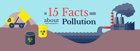 Modèle de visuel Facts about Pollution - Facebook cover
