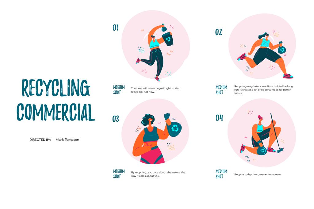 Woman Recycling garbage Storyboard Design Template