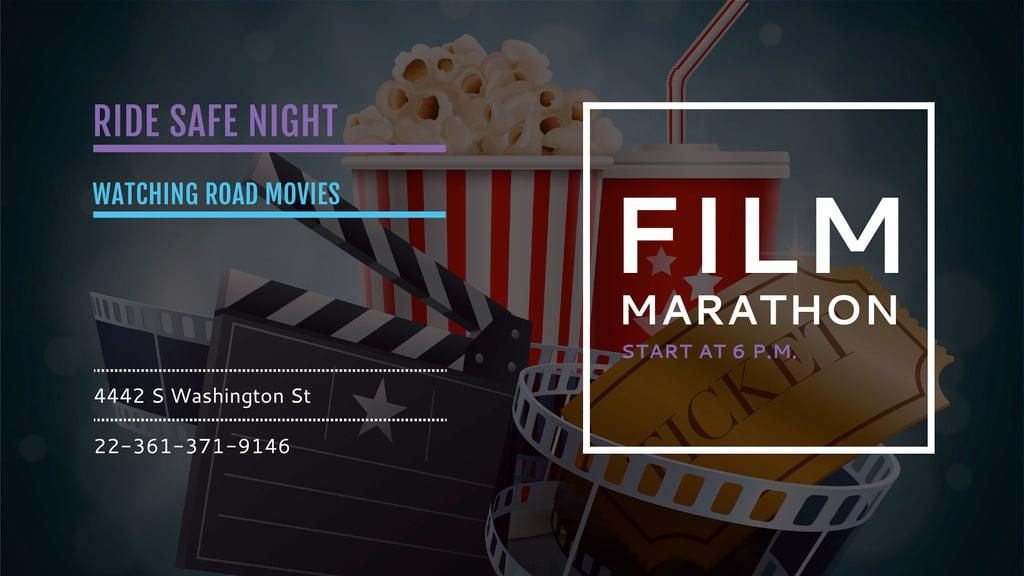 Film Marathon Night Facebook Event Cover 1920x1080px Template Design Online Crello