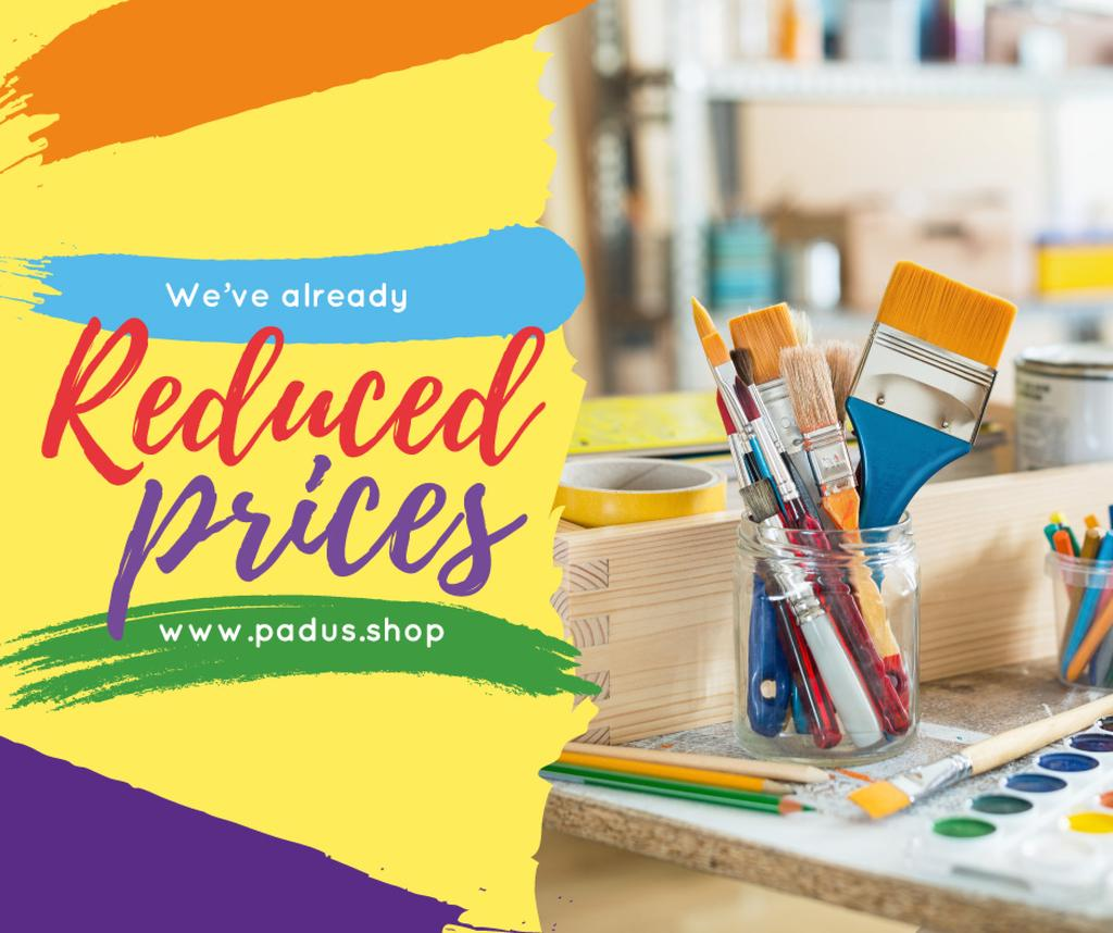Art Shop Promotion with Supplies and Brushes | Facebook Post Template — Créer un visuel
