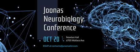 Scientific Event Announcement Glowing Human Brain Facebook cover Modelo de Design