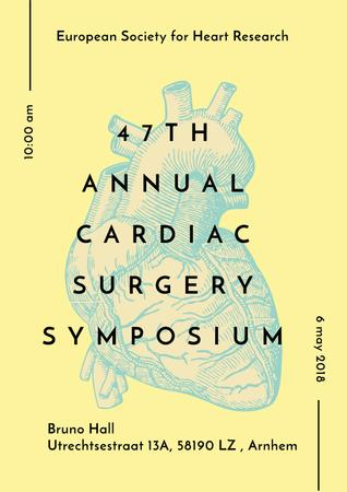 Medical Event Announcement with Anatomical Heart Sketch Poster – шаблон для дизайну