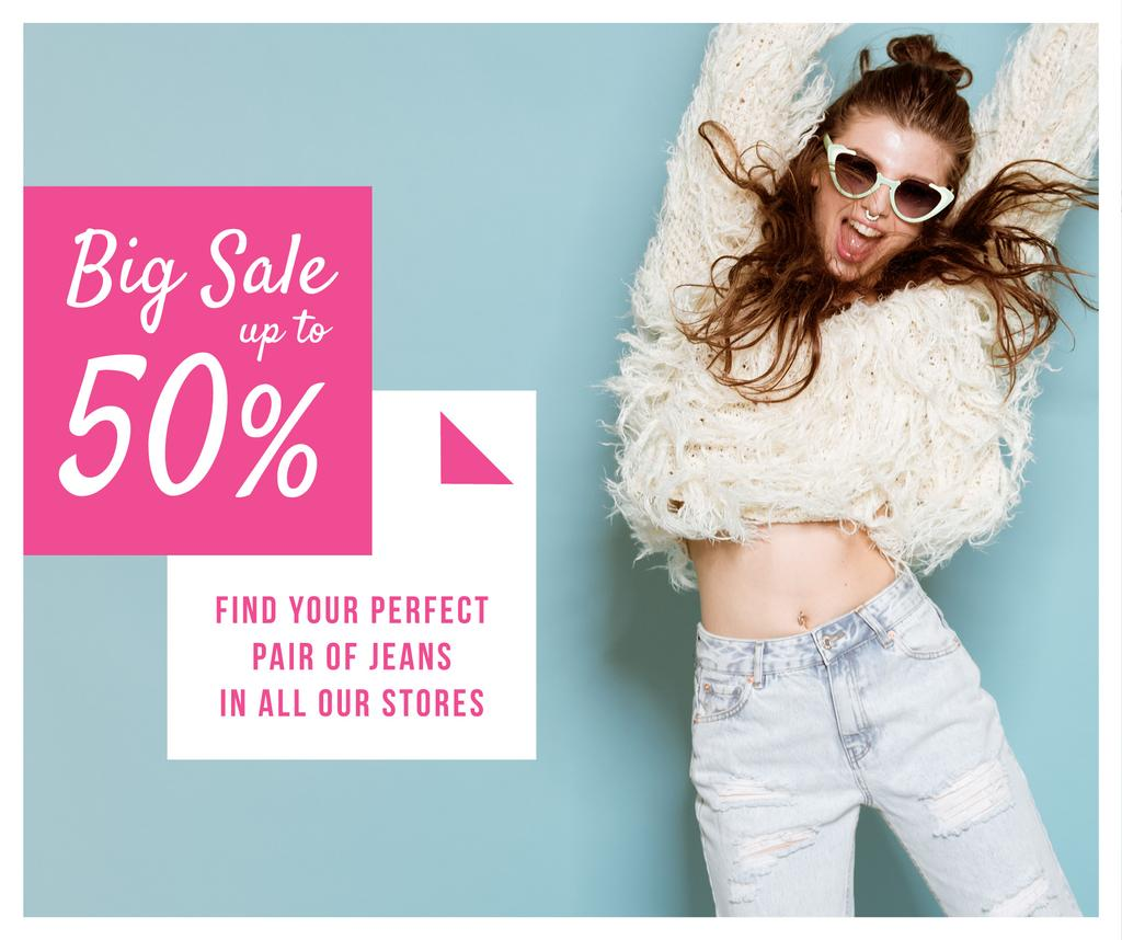 Jeans Sale Jumping Girl in Sunglasses — Crear un diseño