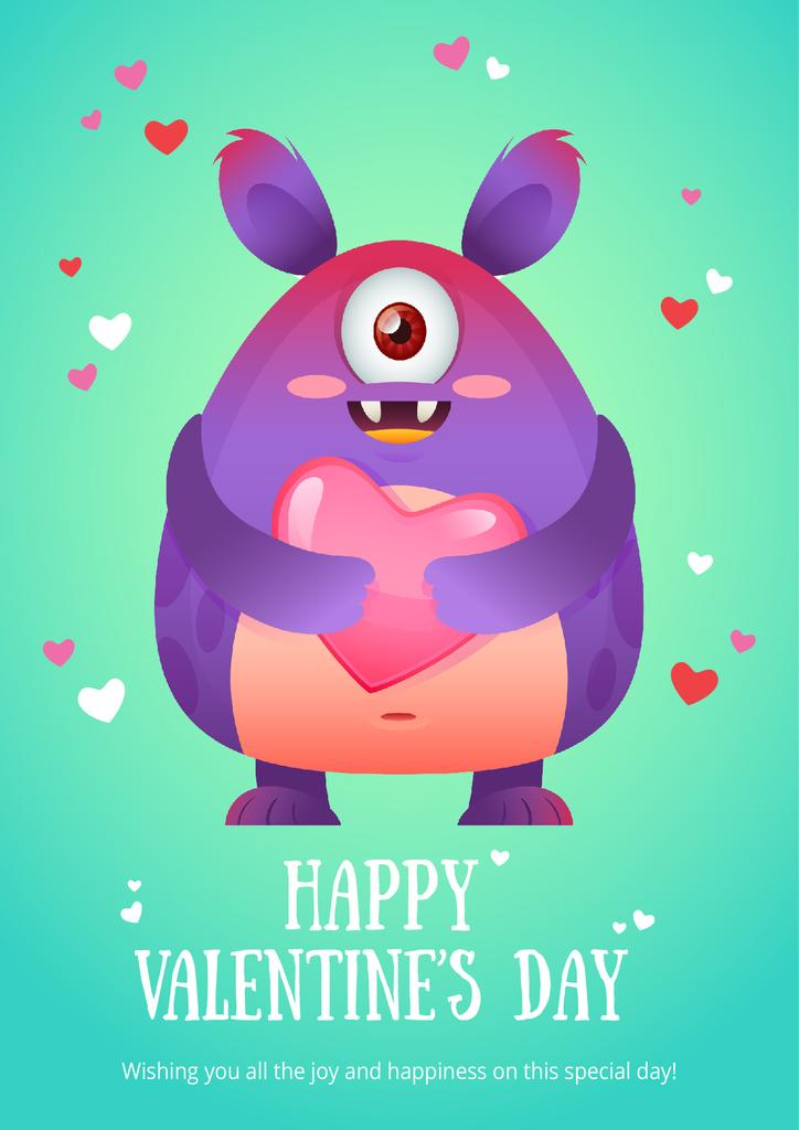 Happy valentine's day card with monster —デザインを作成する