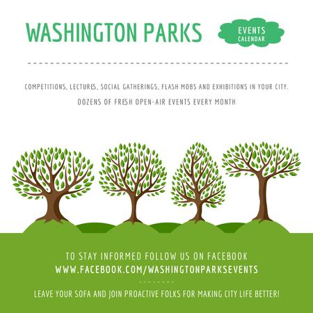 Template di design Park Event Announcement Green Trees Instagram AD