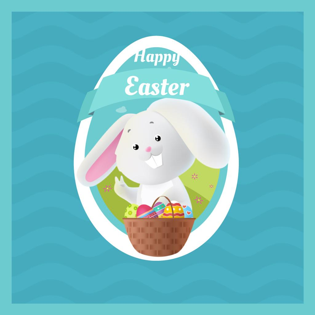 Cartoon Easter bunny with colored eggs — Crear un diseño