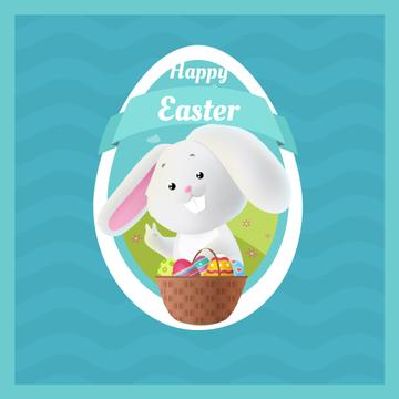 Cartoon Easter bunny with colored eggs