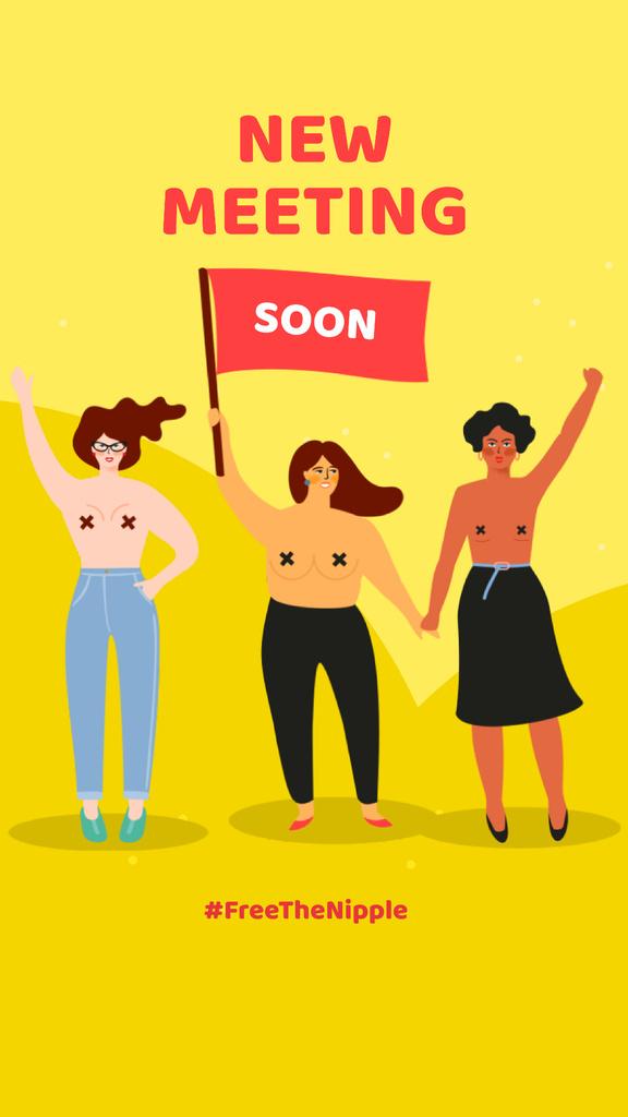 Diverse women portraits on riot — Modelo de projeto