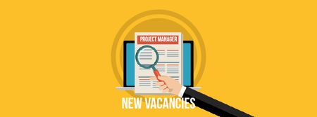 Ontwerpsjabloon van Facebook Video cover van New Vacancies Project Manager