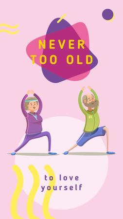 Ontwerpsjabloon van Instagram Story van Old people exercising