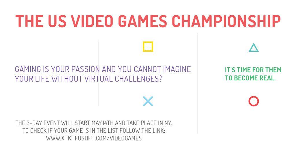 Video Games Championship announcement Image Modelo de Design