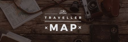 Traveller map  poster with vintage photo camera Twitter Design Template