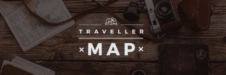 Traveller map  poster with vintage photo camera Twitterデザインテンプレート