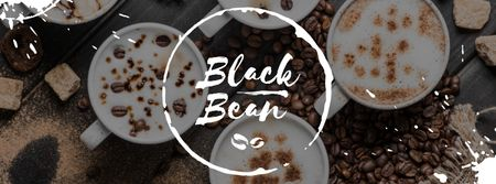 Black bean with cups of Coffee Facebook coverデザインテンプレート