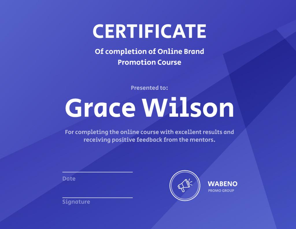 Online Business Program Completion diploma — Modelo de projeto