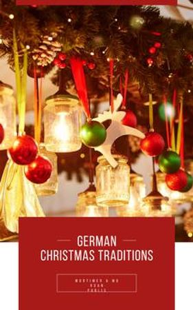 Traditional Shiny Christmas Decorations Book Coverデザインテンプレート