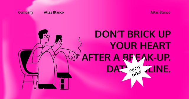 Modèle de visuel Online Dating App promotion with Man using Phone - Facebook AD