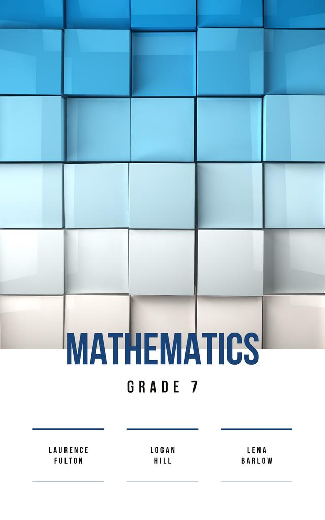 Mathematics Lessons Cubes in Blue Gradient Color | eBook Template — Crear un diseño