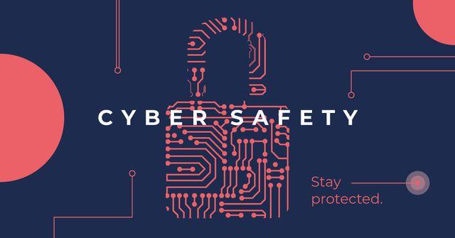 Ontwerpsjabloon van Facebook AD van Cyber Safety Lock Icon on Network