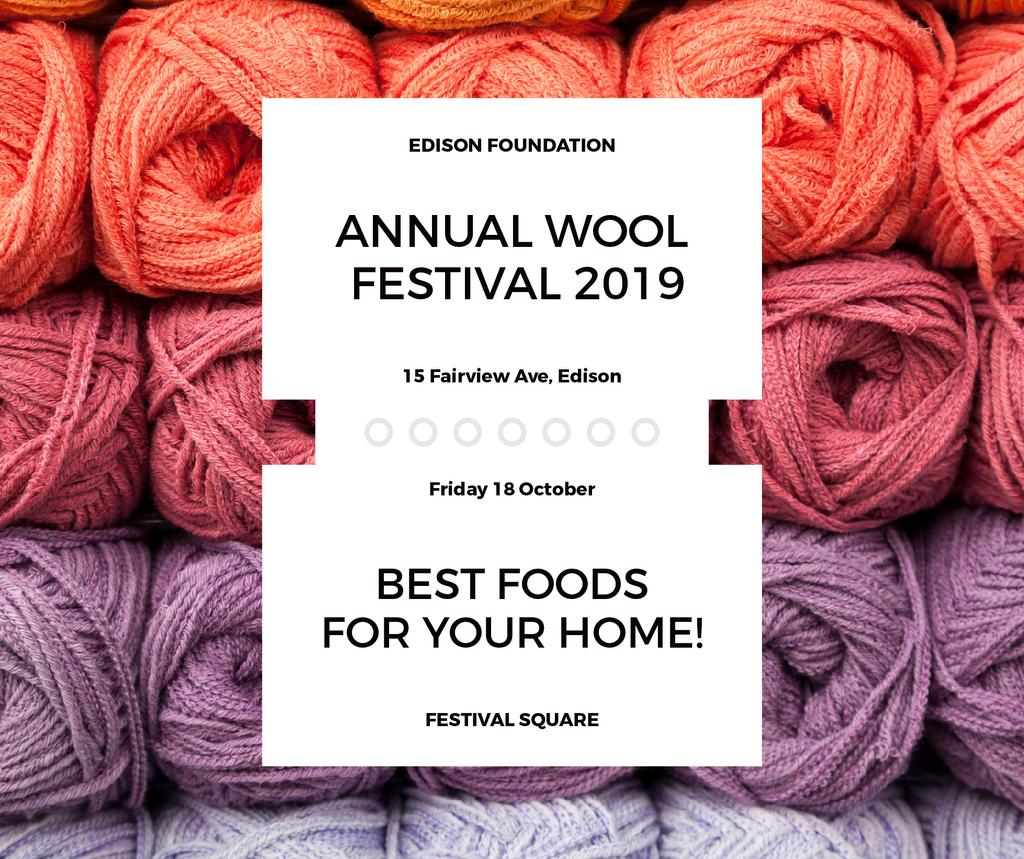 Knitting Festival Invitation Wool Yarn Skeins | Facebook Post Template — Создать дизайн