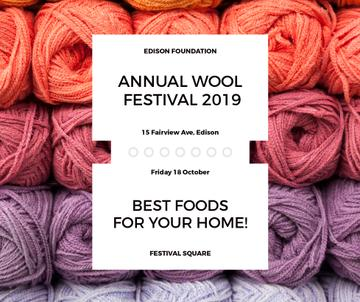 Knitting Festival Invitation Wool Yarn Skeins | Facebook Post Template