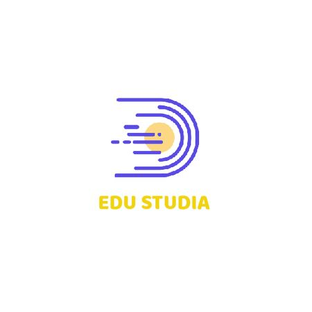 Education Studio with Planet in Space Animated Logo Tasarım Şablonu