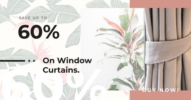 Curtains and printed wallpaper Facebook AD – шаблон для дизайна