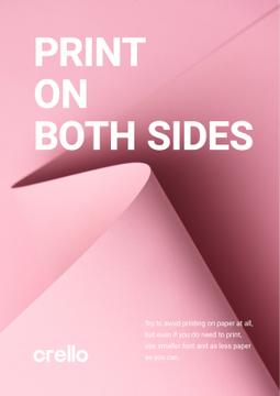 Paper Saving Concept Curved Sheet in Pink | Poster Template