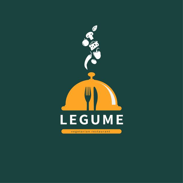 Restaurant Promotion with Food and Cloche Logo Design Template