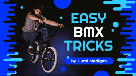 Ontwerpsjabloon van Youtube Thumbnail van BMX Tricks Man Jumping on Bike