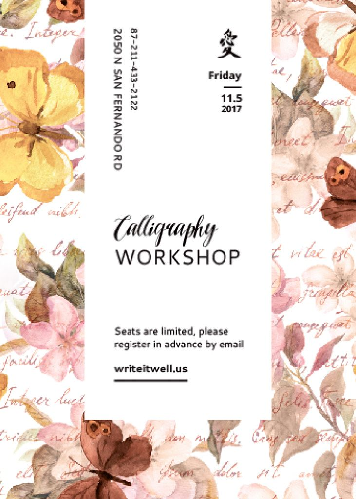 Calligraphy Workshop Announcement Watercolor Flowers Invitation Tasarım Şablonu