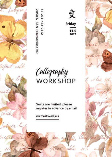 Calligraphy Workshop Announcement Watercolor Flowers Invitation – шаблон для дизайна