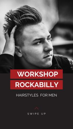 Workshop announcement Man with rockabilly hairstyle Instagram Story Tasarım Şablonu
