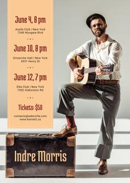 Musician Tour Announcement Man Playing Guitar | Flyer Template