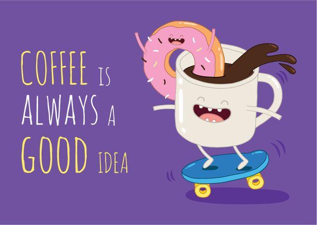 Ontwerpsjabloon van Postcard van Coffee Cup Riding Skateboard