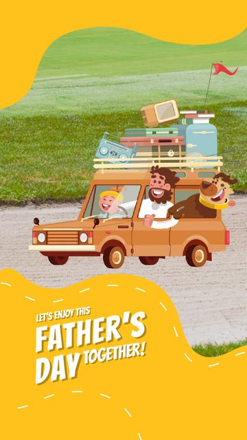 Father's Day Happy Family in Car Instagram Video Story Modelo de Design