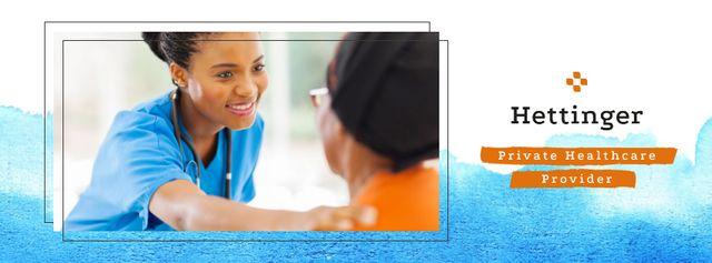 Doctor supporting patient Facebook cover Modelo de Design