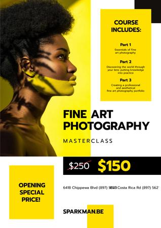 Plantilla de diseño de Photography Masterclass Promotion Woman with Creative Makeup Poster