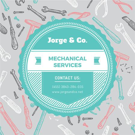 Mechanical services Ad with Tools pattern Instagram Modelo de Design