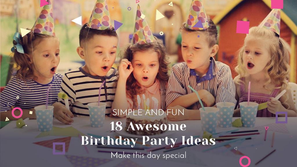Birthday Party Organization Kids Blowing Cake Candles — Maak een ontwerp