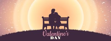 Valentines Day Greeting with Couple on a Bench | Facebook Video Cover Template
