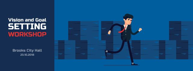 Running businessman in suit Facebook Video cover Design Template