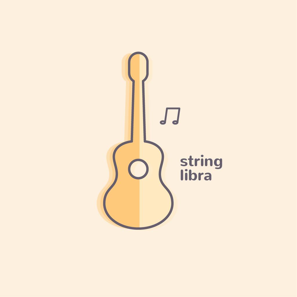 Plantilla de diseño de Simple Guitar Silhouette with Note Logo
