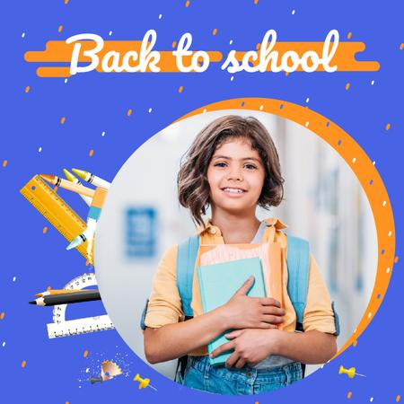 Plantilla de diseño de Back to School Offer with Smiling Schoolgirl with Books Animated Post