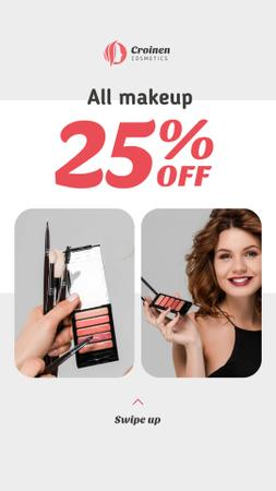 Plantilla de diseño de Cosmetics Sale with Beautician applying Makeup Instagram Story