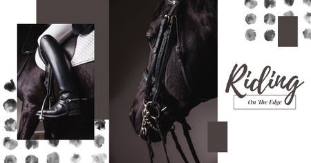 Template di design Horse Rider in Saddle in Black and White Facebook AD
