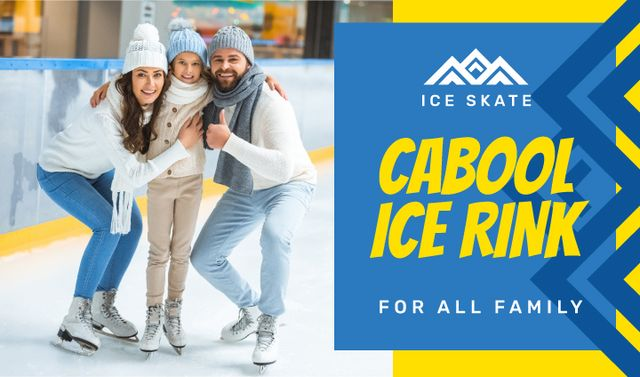 Template di design Ice Rink Invitation with Family Skating Business card