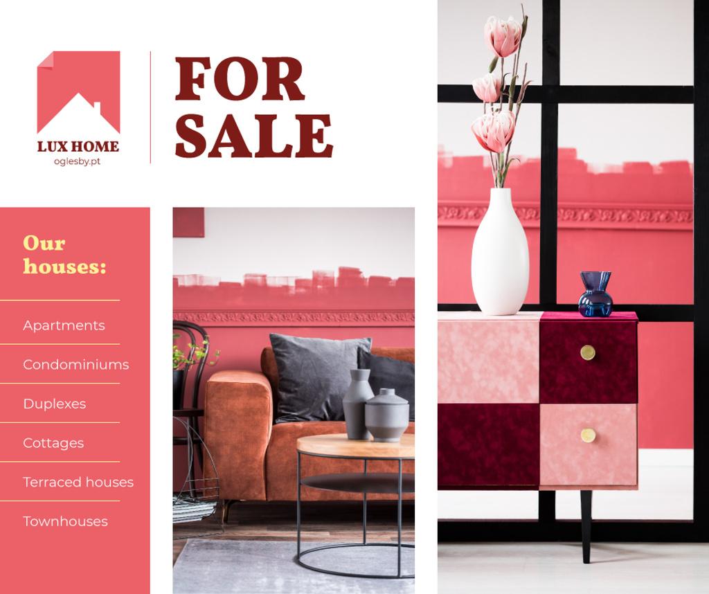 Designvorlage Luxury Home Offer Interior in Pink für Facebook