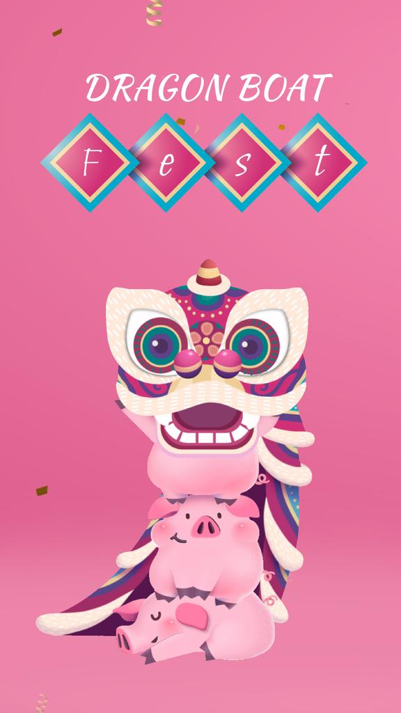 Chinese Fest Announcement Dragon with Pigs — ein Design erstellen