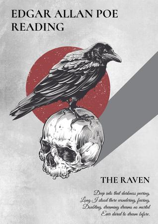 Artistic Poster with Raven Sitting on Skull Poster – шаблон для дизайну